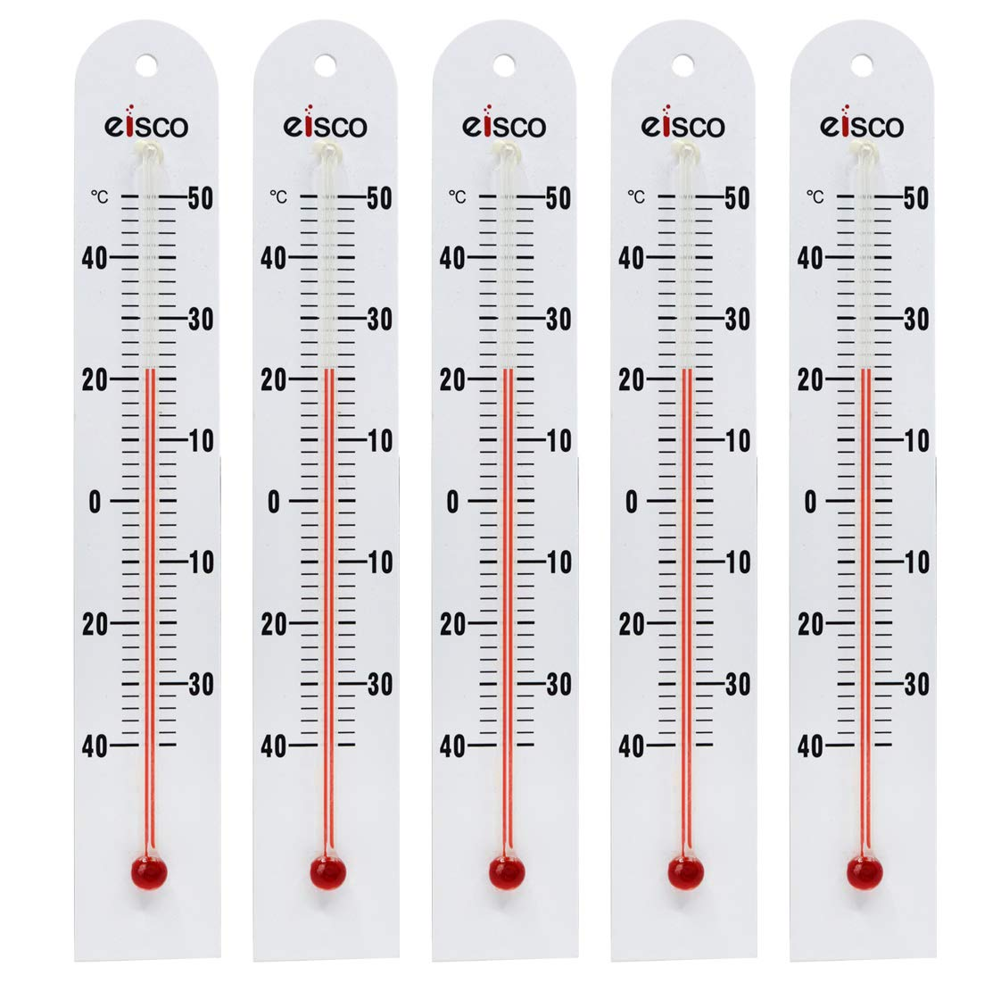 5 Pack - PVC Thermometers, -40 to 50°C, White PVC Backing, Glass - Spirit Filled - 6.5'' Long, 1'' Wide - Eisco Labs by EISCO