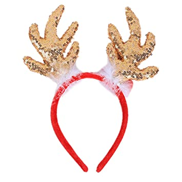 33f2d0b21c12d Amazon.com  EAPTS 1 PC Christmas Glitter Sequin Reindeer Antlers Hair Hoop