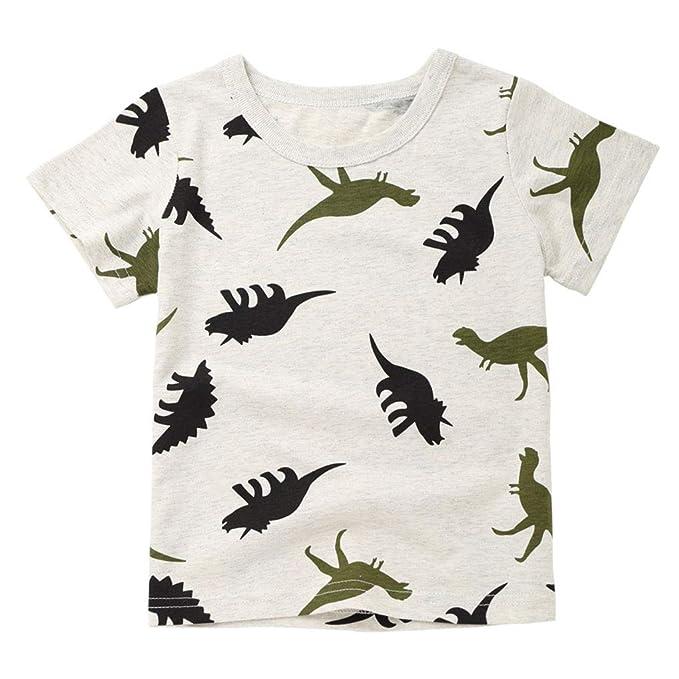 a0fb1b7f7 FCQNY Pequeño Bebé Niño Camiseta Dinosaurio Impresión Corto Manga Verano  Gris: Amazon.es: Ropa y accesorios