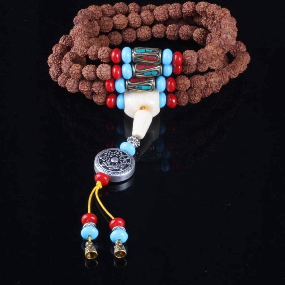 MLJSX Pulsera 108 Semillas de Loto Bodhi Budista Cuentas de oración Pulsera Buda Rosario meditación Collar joyería con