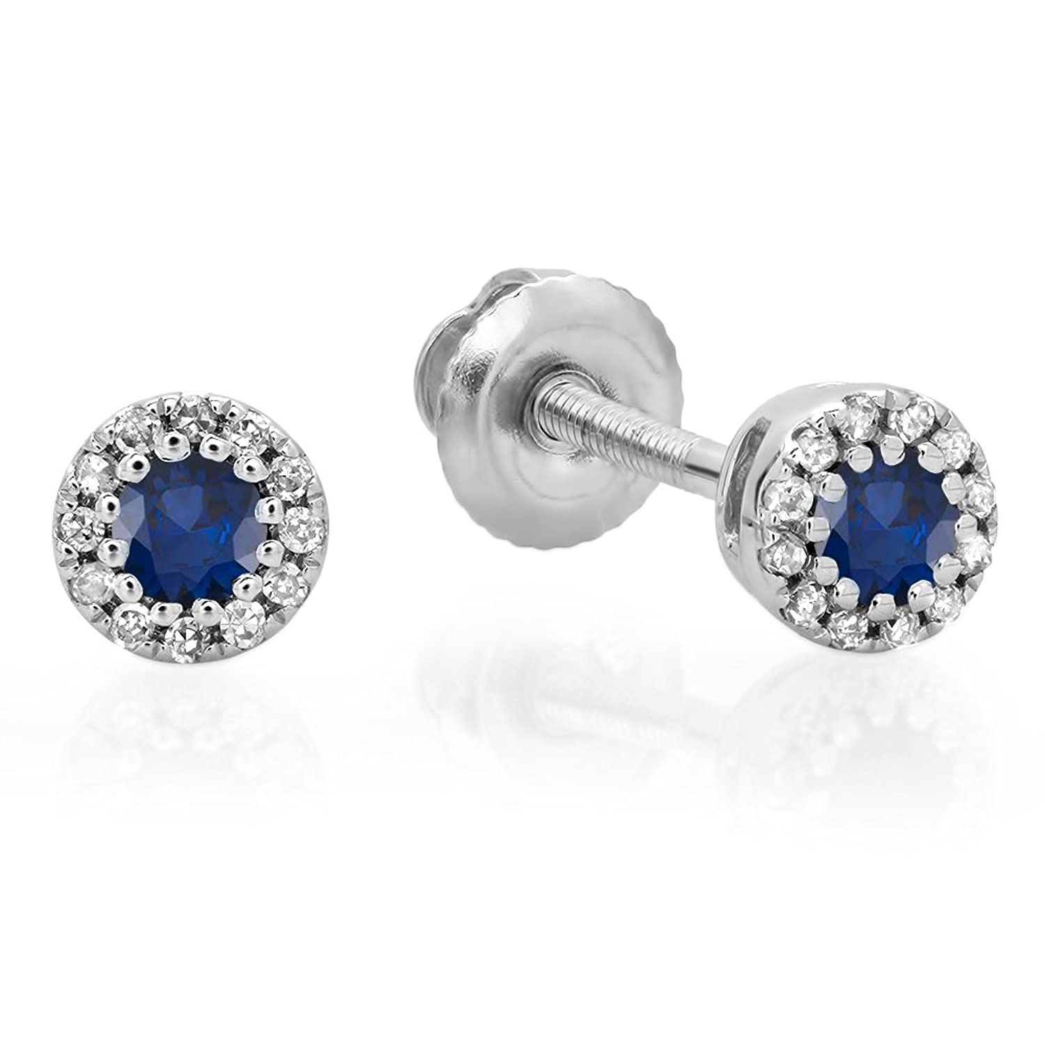 10K Gold Round Ladies Cluster Halo Style Stud Earrings