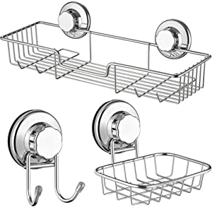 ARCCI Suction Shower Caddy & Soap Dish & Double Bath Hook - Stainless Steel Suction Cup Bathroom Shelf Basket for Shampoo, Conditioner, 3 Sets Bathroom Accessories