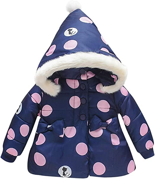 Toddler Kid Baby Girl Dot Bow Winter Coat Jacket Thick Snowsuit Hooded Outerwear