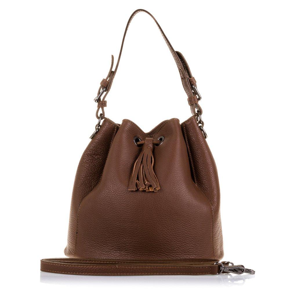 Firenze Artegiani本革製女性バッグ、Dollaroメッセンジャーバッグ仕上げ、25 cm、ブラウン(ダークブラウン)   B07JLTN7SY
