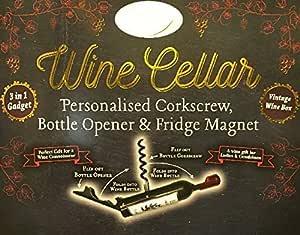 bottle opener /& fridge magnet Wine cellar personalized corkscrew