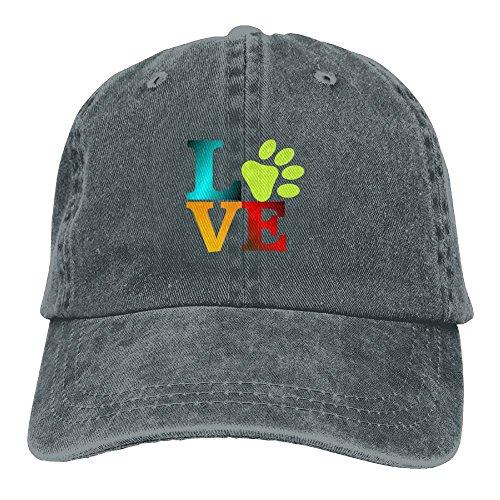 Arsmt Love Dog Paw colorful Denim Hat Adjustable Unisex Vintage Baseball Hats