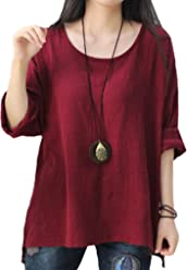 c3604f3709010a Women s Casual Loose Unbalance Cotton Linen Batwing Blouse Tops