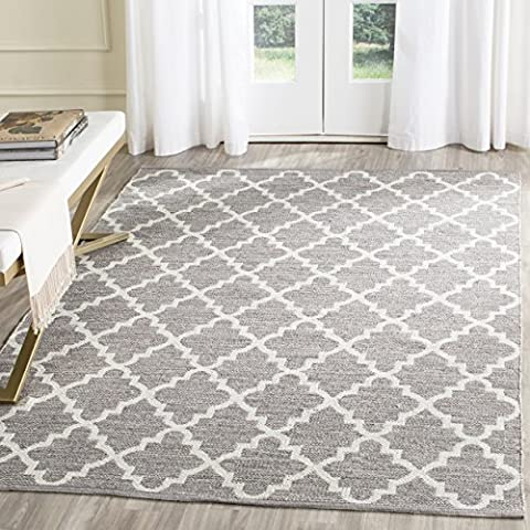 Safavieh Montauk Collection MTK810A Handmade Flatweave Grey and Ivory Cotton Area Rug (2'3