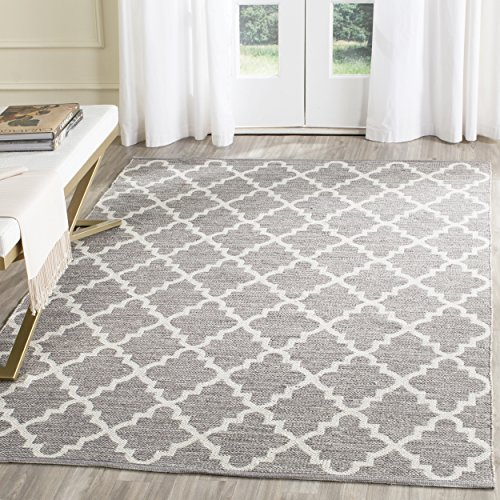 Safavieh Montauk Collection MTK810A Handmade Flatweave Grey and Ivory Cotton Area Rug (8′ x 10′)