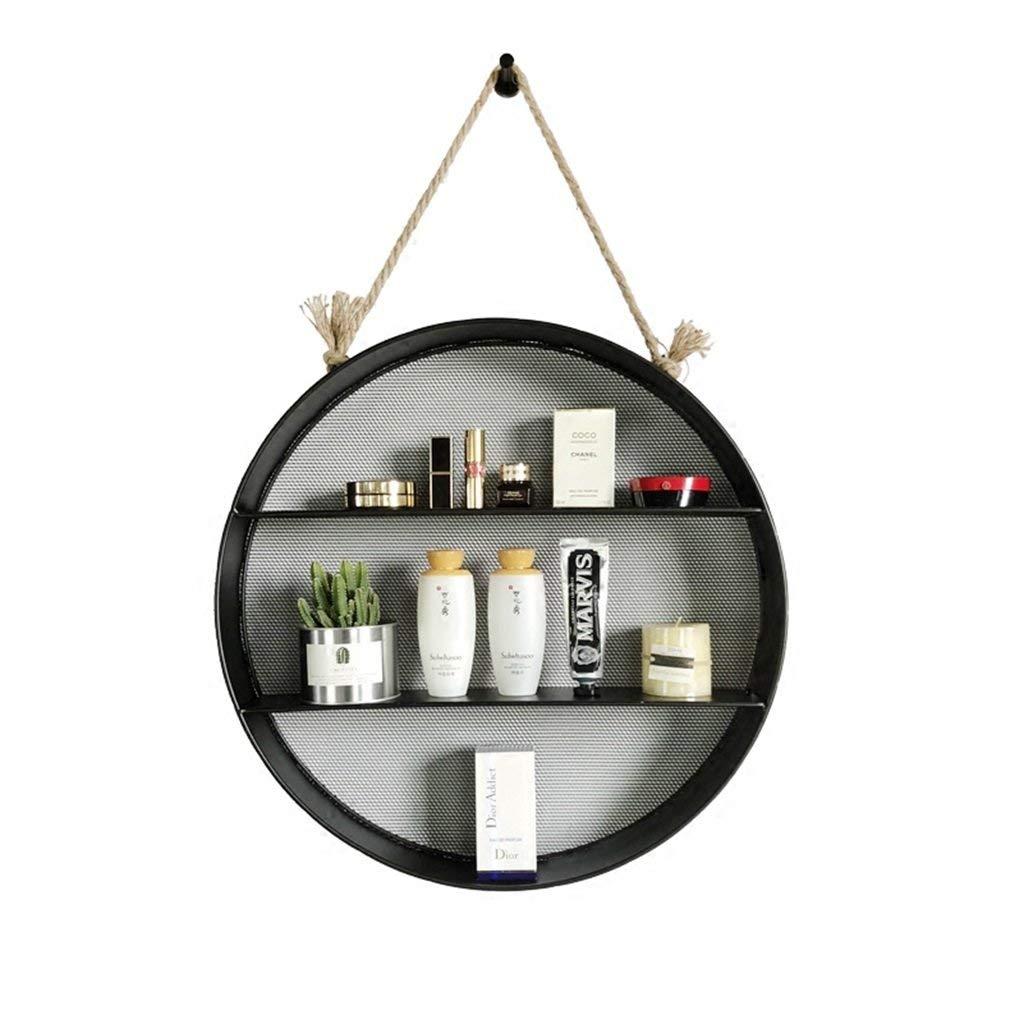 YCT 創造的な円形の錬鉄製の棚、装飾的な壁掛け、多層収納バスケット仕切り。棚 B07SBYHNDC