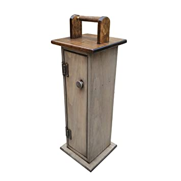 Peaceful Classics Wooden Toilet Paper Holder Cabinet Amish Handcrafted Solid Pine Bathroom Storage Toilet Tissue Shelf Standing Toilet Paper