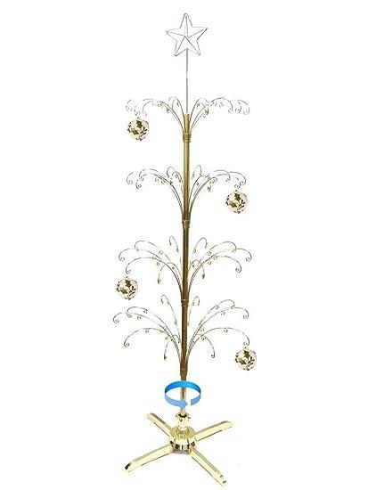 hohiya artificial christmas tree rotating metal ornament stand 90hooks 6 to 7 feetgold - Metal Christmas Decoration Stand
