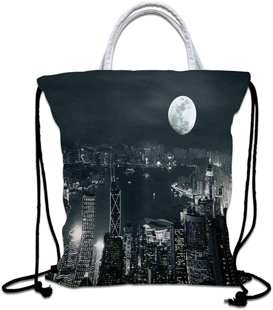 Modern Drawstring Backpack Bag,Aerial View of Hong Kong City at Night with Full Moon Sky Architecture Mystic Print Lightweight Sports Gym Bag for Women Men Children,Blue Grey