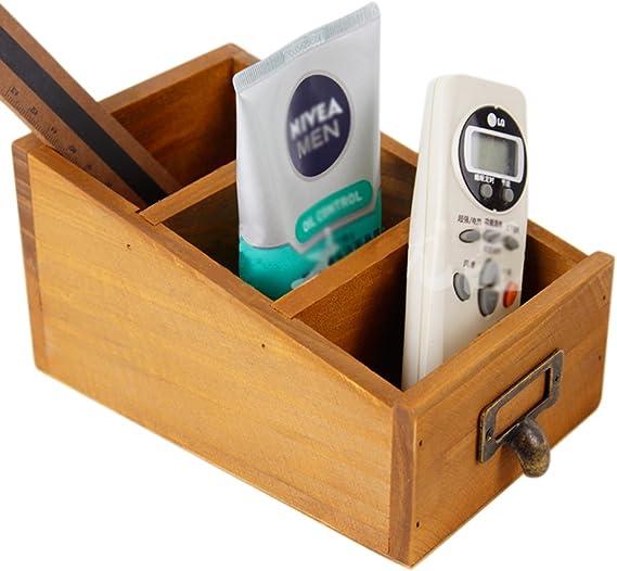 Creative 3-ranura escalera forma tablero pino portadocumentos, caja Haoun de madera para escritorio pluma lápiz // clips/cojines de Nota/papelería/teléfono móvil // make-up Cosmrtic - amarillo: Amazon.es: Bricolaje y herramientas