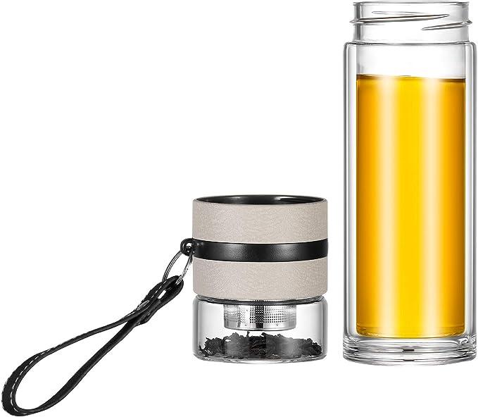 Tea Water Separation Bottle Mug Cup Tea Infuser Double Wall Glass Water Bottle