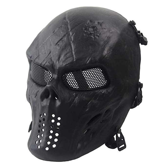 Siniao Airsoft Paintball Full Face Skull Skeleton CS Mask Tactical Military (Black)