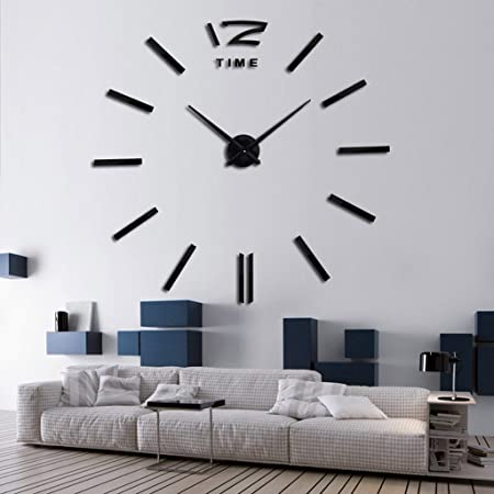 grh home decoration big mirror wall clock modern design 3d diy large