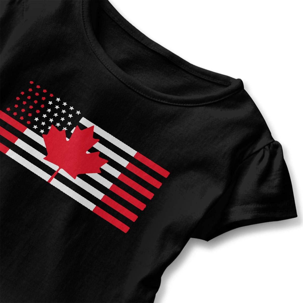SHIRT1-KIDS USA Canada Flag Toddler//Infant Girls Short Sleeve T-Shirts Ruffles Shirt T-Shirt for 2-6T