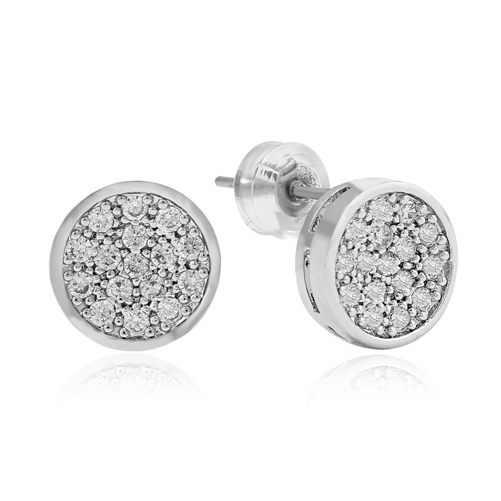 e7f667694 Amazon.com: Lureen Gold Silver 9mm Round Circle Iced Out CZ Stud Earring  for Men Women Gift (Silver): Jewelry