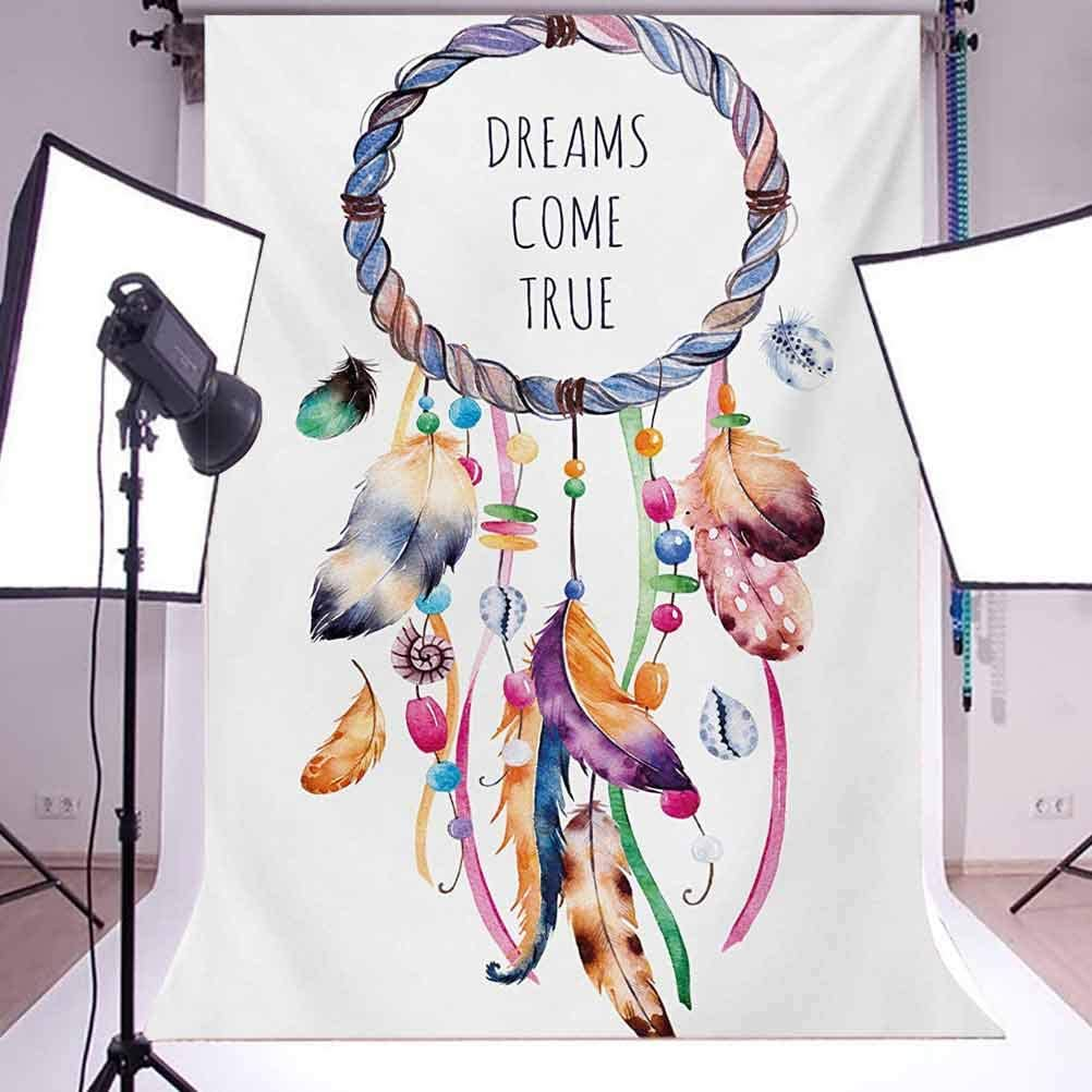 Feather 6x8 FT Backdrop Photographers,and Tribal Native American Dream Catcher Illustration Bohemian Style Image Background for Baby Birthday Party Wedding Vinyl Studio Props Photography Multicolor