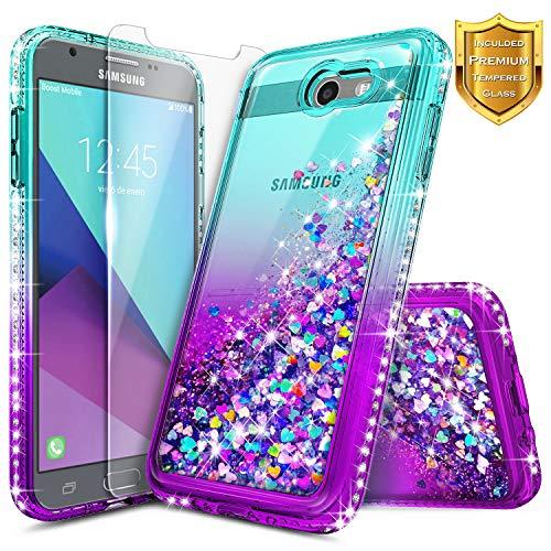 Galaxy J3 Luna Pro Case, J3 Emerge/J3 Prime/J3 Eclipse/J3 Mission/J3 2017/Sol 2/Amp Prime 2/Express Prime 2 w/[Tempered Glass Screen Protector], NageBee Glitter Liquid Cute Case -Aqua/Purple