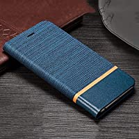 Trounce™ Denim Cloth + Leather Flip Wallet Case Stand Cover with Card Holder (Blue) for Nokia 6.1 Plus