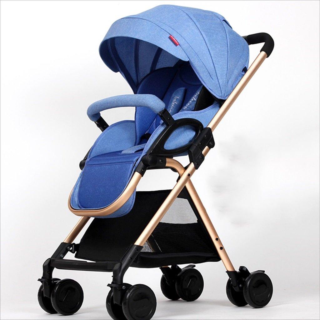 新生児の赤ちゃんキャリッジ折りたたみ可能な座って、1ヶ月の赤ちゃんをダンピングすることができます3歳の赤ちゃんの4つの車輪トロリー目覚め (色 : 青) B07DVBPQCJ 青 青
