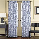 Five Queens Court April Floral Toile Print Window Sheer Curtain Panel, 50×84, Blue For Sale