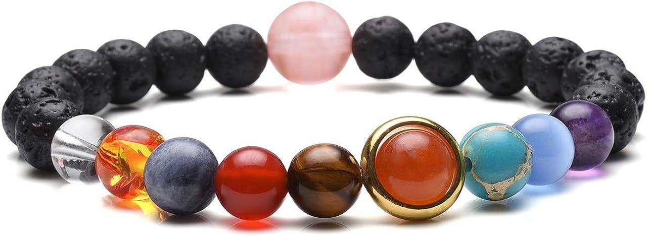 JOVIVI - Pulsera de sistema solar, cuentas de roca de lava, difusor de aceites esenciales