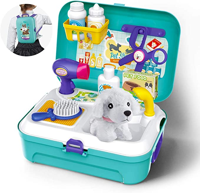 Gizmovine Toys for Kids Dog Grooming Doctor Kit Toys, Pet Care Play Set Pretend Puppy Dog Carrier, Pet Grooming Toy with Sturdy Gift case for Toddler Boys and Girls