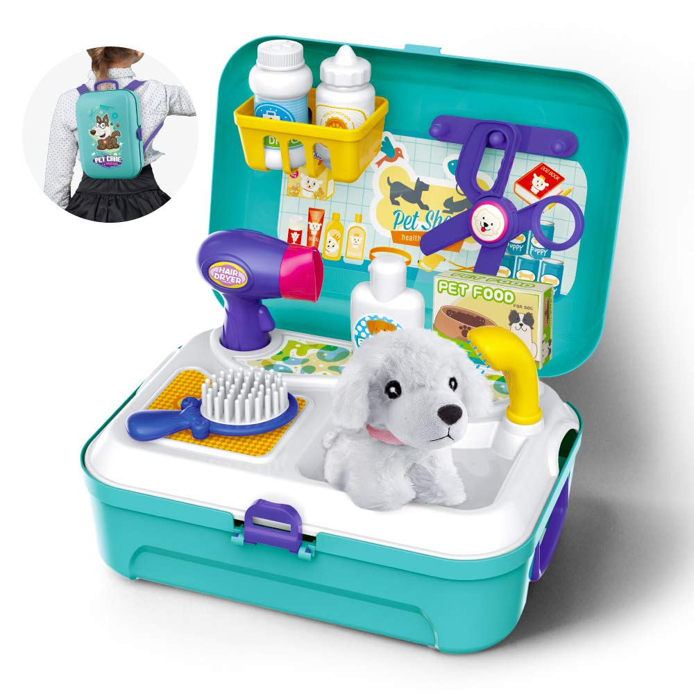 Gizmovine Toys for Kids Dog Grooming Doctor Kit Toys, Pet Care Play Set Pretend Puppy Dog Carrier, Pet Grooming Toy with Sturdy Gift case for Toddler Boys and Girls by Gizmovine