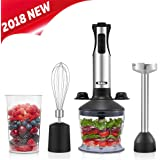 Medelon Immersion Blender,2018 NEW Design Powerful 4-in-1 Hand Blender Set - 5 Speed Control Baby Food Chopper - Includes 500ml Food Chopper, Beaker (600ml) ,Egg Whisk, Bracket (Black)