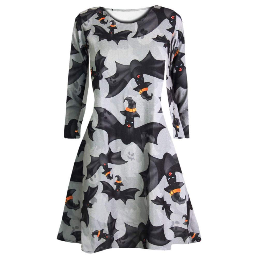 Halloween Dresses for Women,Ladies Long Sleeve O Neck Pumpkin Skull Halloween Evening Prom Costume Swing Party Dresses
