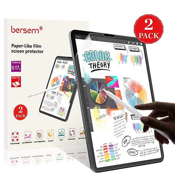 Bersem Paperlike I Pad Pro 11 Screen Protector, 2 Pack Write And Draw Like On Paper With Paper Texture For I Pad Pro 11 2018 Anti Glare Matte Surface Easy Install (Non Glass) by Bersem