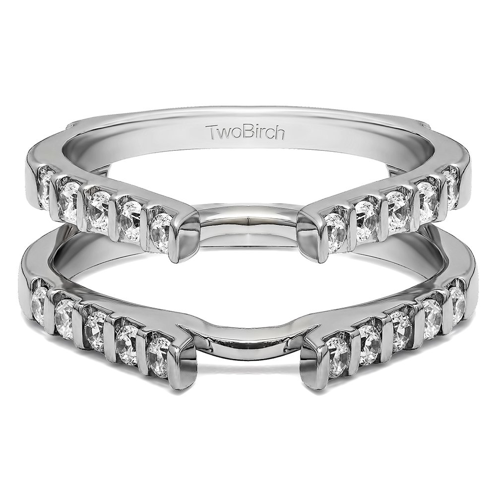 Sterling Silver Traditional Style Cathedral Wedding Ring Guard Enhancer with White Sapphire (0.5 ct. tw.)