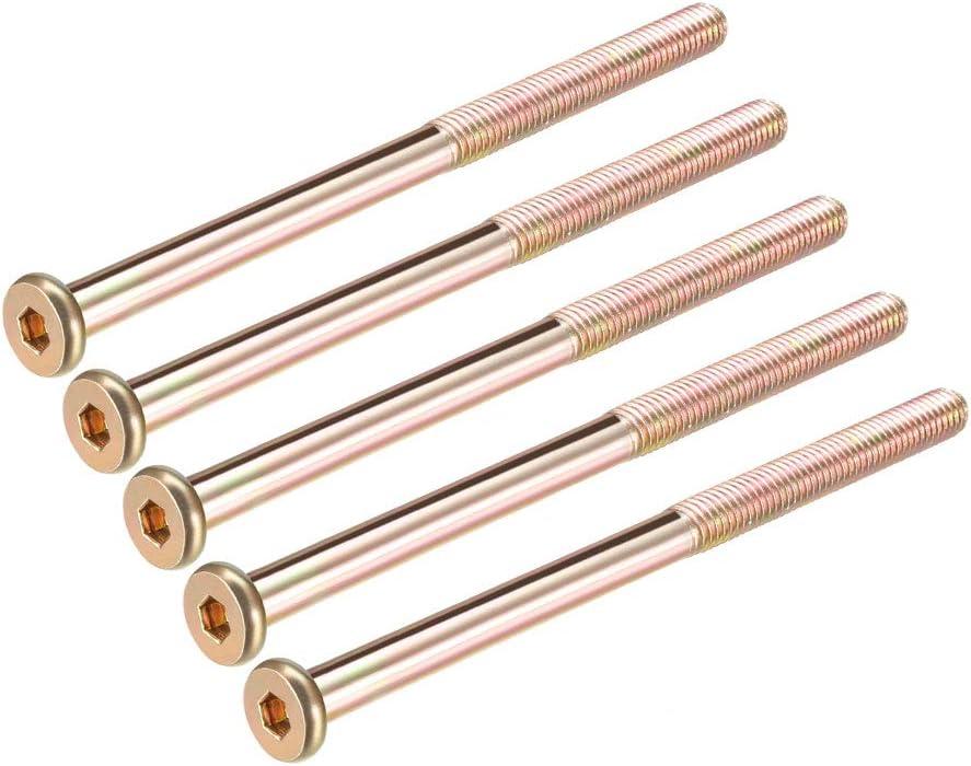 uxcell M8x120mm Furniture Screw Hex Socket Machine Screws Zinc Plated Fasteners Bolts Half Thread Carbon Steel 5Pcs