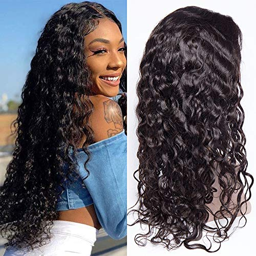 Maxine Lace Front Wigs Water Wave Brazilian Virgin Human Hair Wigs with Adjustable Straps Natural Hairline with Baby Hair Natural Black Unprocessed Human Hair 130% Density 20inch