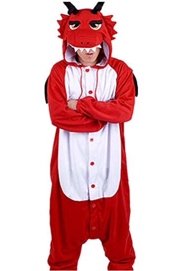 WOTOGOLD Animal Cosplay Costume Dragon Unisex Adult Pajamas Red