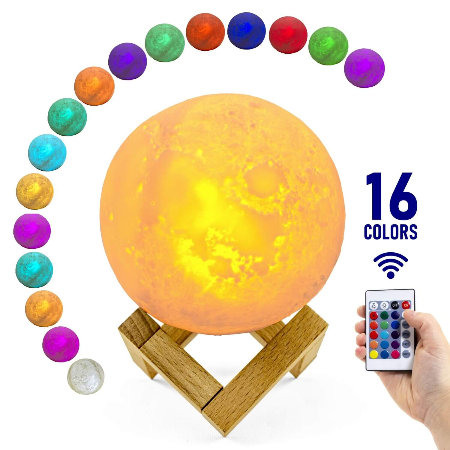 Large 3D Moon Lamp with Stand, 5.9' - Realistic Moon Light with 16 Beautiful Colors Changing, Remote, Touch Control, USB, Eco Friendly, Perfect for Home Decor, Cool Lovely Gift (5.9 inch) 5.9 - Realistic Moon Light with 16 Beautiful Colors Changing Gobblen