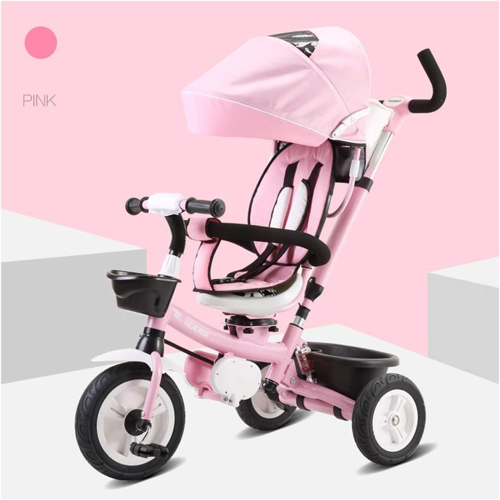 HBSC Triciclo para niños, Cochecito de 1 a 3 años, Triciclo para bebés de 2 a 6 años de Edad, el Asiento Puede girarse, el Cuadro con Amortiguador, Elegante y Duradero 1bicycle Regalo Pink