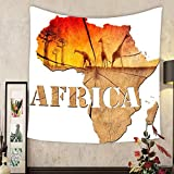 Keshia Dwete Custom tapestry africa map wooden illustration africa map with wood texture and colorful landscape of fantasy
