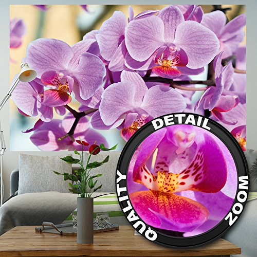 GREAT ART Wallpaper Orchid Flowers Image -Pink Flower Wall Decoration Nature Posters Beautiful Designs Nature Mural (82.7 Inch x 55 Inch)