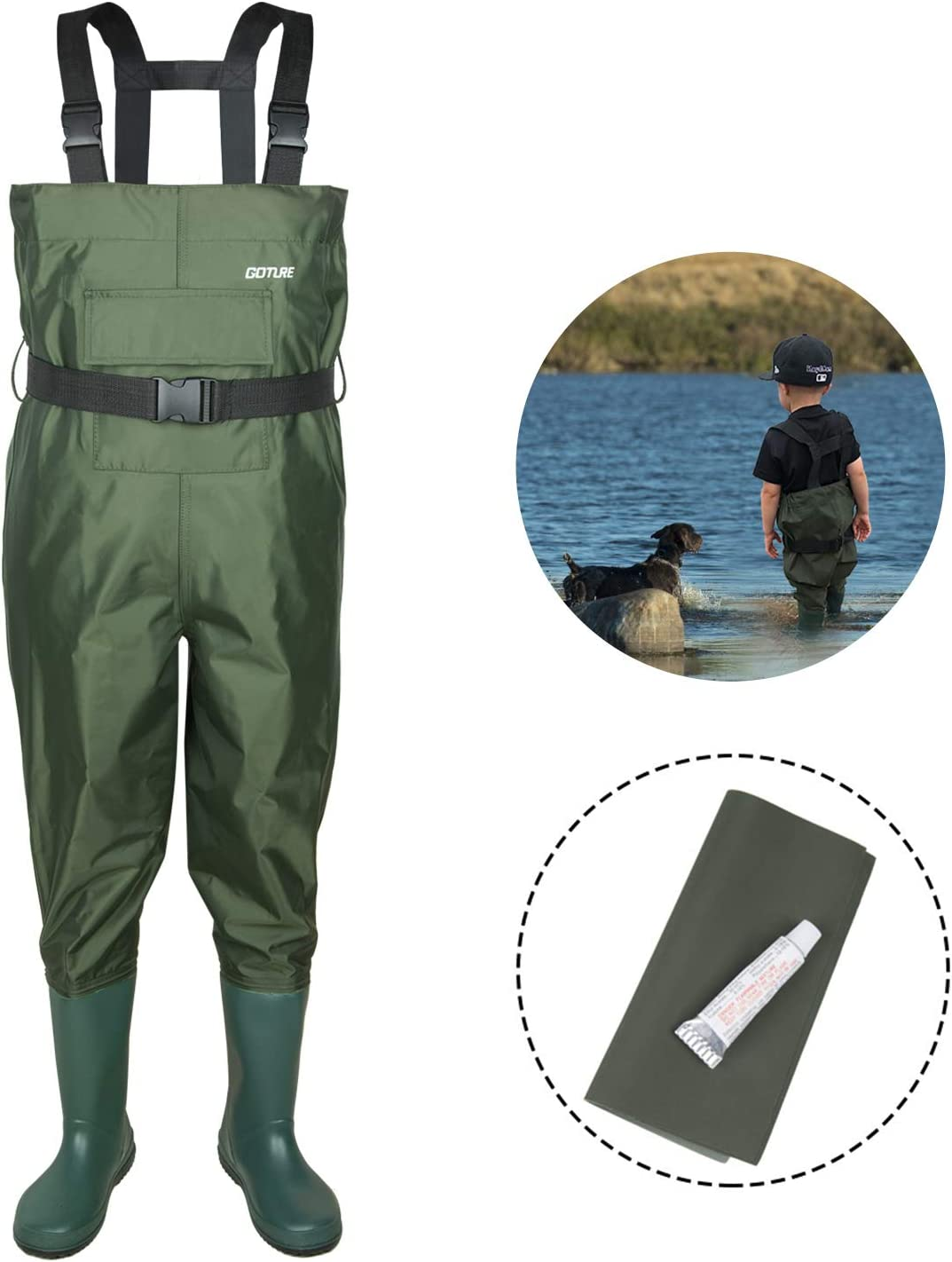 Goture Chest Waders for Kids - Lightweight and Breathable Durable PVC Fishing Waders for Toddler and Children, Army Green Waterproof Hip Waders for Boy and Girl with Bootfoot