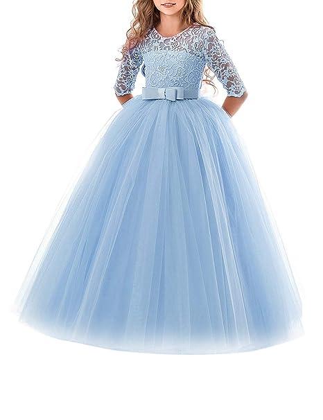 a9eb7cbda6 besbomig Cordón Boda Vestido de Princesa Mangas Piano El Rendimiento  Escolar Disfraces Vestidos para Niñas de 5 a 13 años Niña  Amazon.es  Ropa  y accesorios