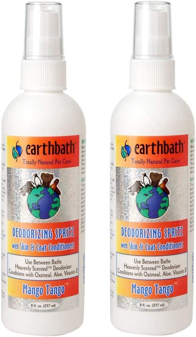Earthbath 2 Pack of 3-in-1 Deodorizing Spritz, 8 Ounces, Mango Tango for Dogs and Puppies