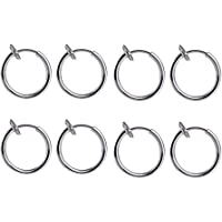 BOYDA 316L Surgical Stainless Steel Fake Piercings Nose Rings 13mm (1/2 inch) 8 Clip On Ear Lip Earrings Body Jewelry