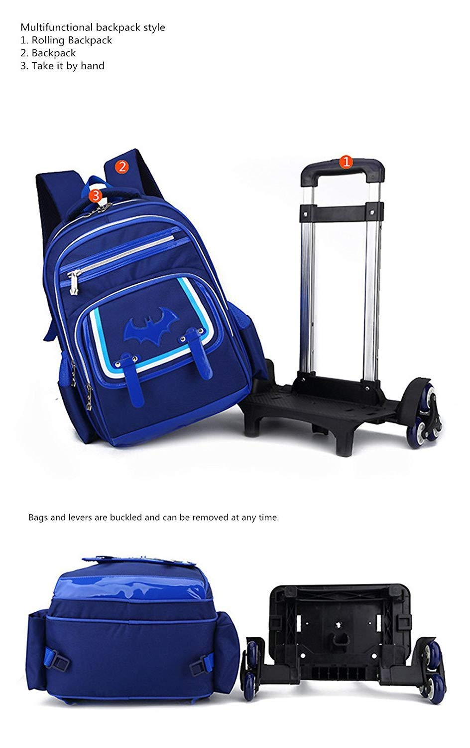 Amazon.com  C-Xka Waterproof Wheeled Backpack Cute Cartoon Rolling Backpack  Elementary Students Wheeled Book Bag Primary School Bag Carry-on Luggage Bag  ... 255776048f592