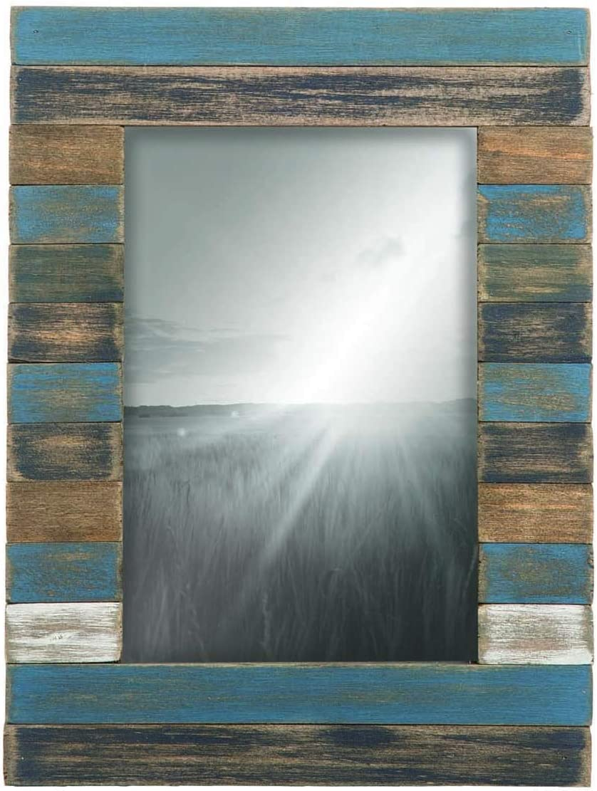 Foreside Home and Garden 4X6 Slatted Wood Photo Frame, Blue, Gray