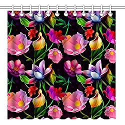 Wknoon 72 x 72 Inch Shower Curtain,Seamless Colorful Flowers (Pink Red Purple) Floral Art with Black Background,Waterproof Polyester Fabric Decorative Bathroom Bath Curtains