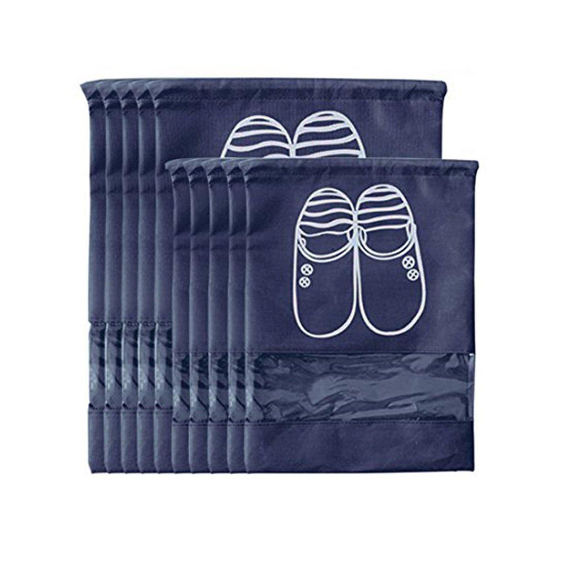 Pinji Lot de 10 Sac à Chaussures de Voyage Portables Respirants Anti-Poussière Housse de Chaussures de Voyage Sac de Rangement pour Chaussures 5 Grands et 5 Moyens pour Femmes Hommes Bleu